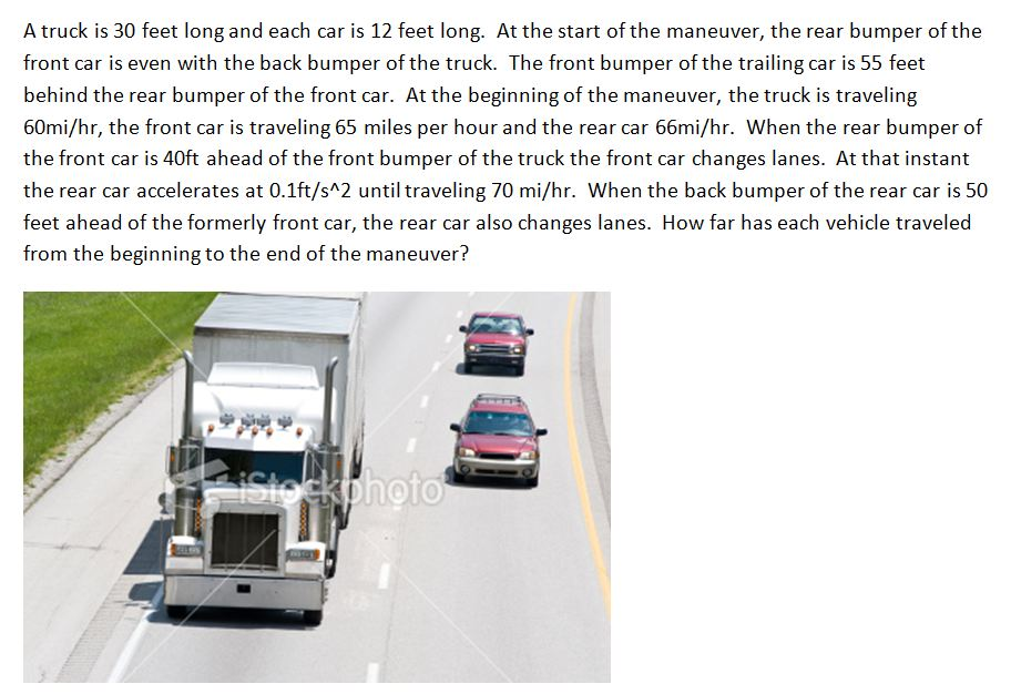 A truck is 30 feet long and each car is 12 feet lo