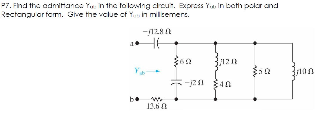 Find the admittance Y ab in the following circuit.