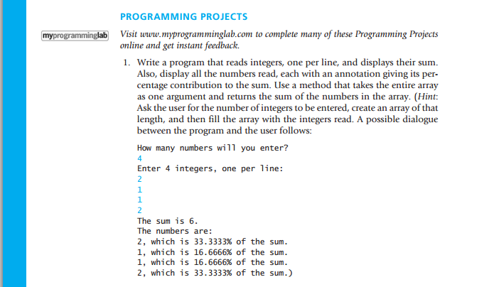 Write a program that reads integers, one per line,