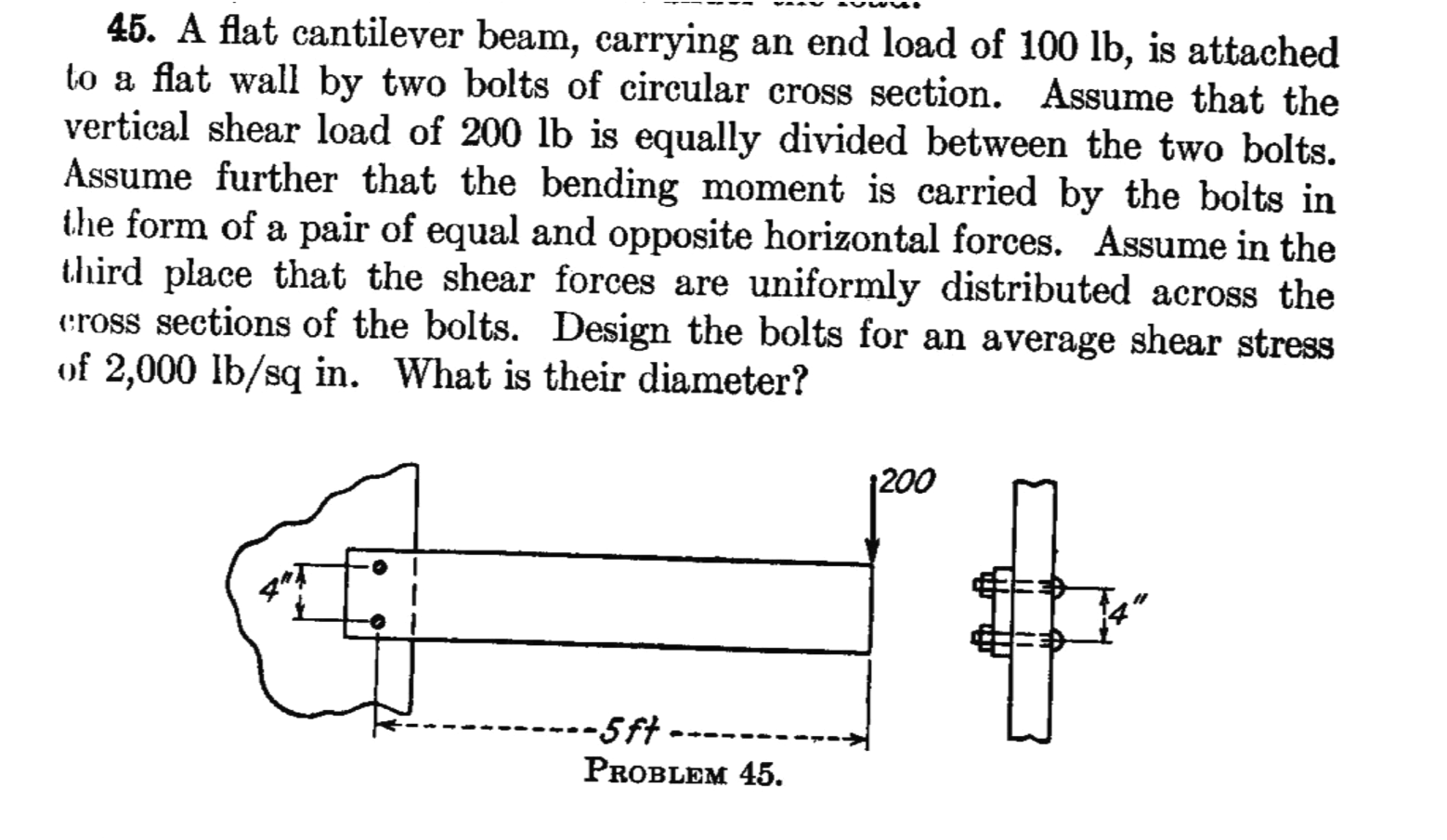 A flat cantilever beam, carrying an end load of 10