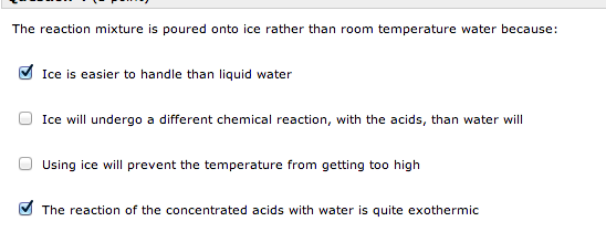 The reaction mixture is poured onto ice rather tha