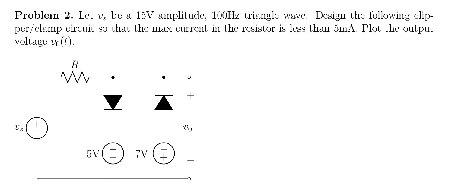 Let vs be a 15V amplitude, 100Hz triangle wave. De