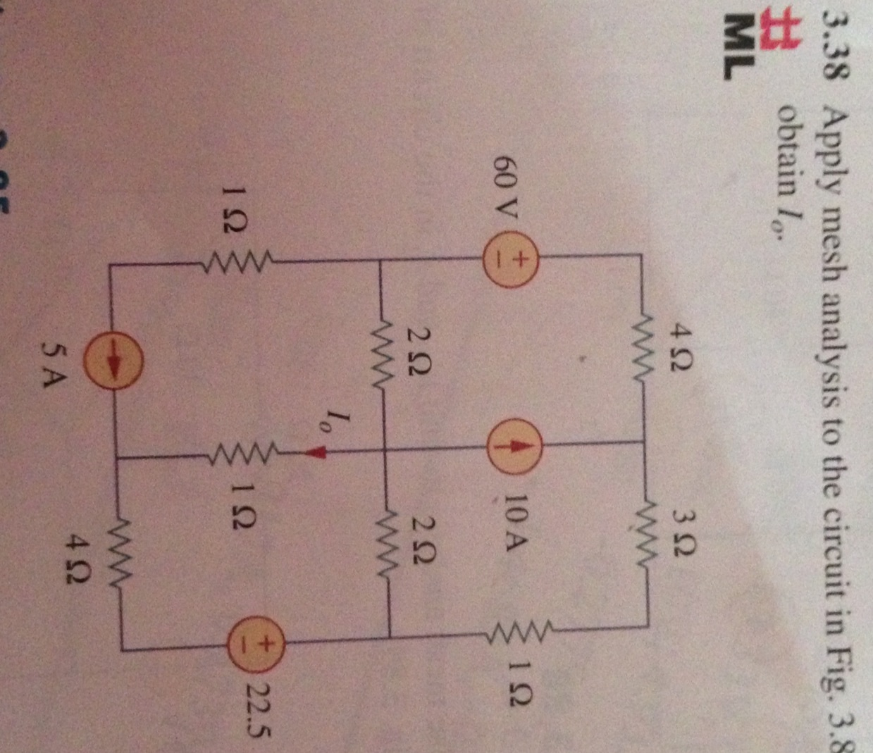 Apply mesh analysis to the circuit in Fig3. 38 obt