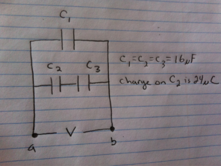 Part a) Find the CHARGE on each of the capacitors