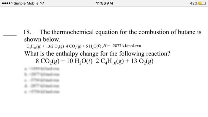 combustion du butane equation