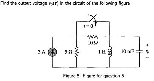 Find the output voltage v0(t) in the circuit of th