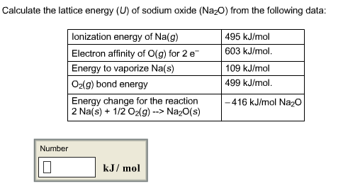Calculate the lattice energy (U) of sodium oxide (