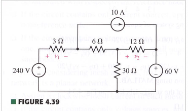 For the circuit of Fig. 4.39, (a) use nodal analys