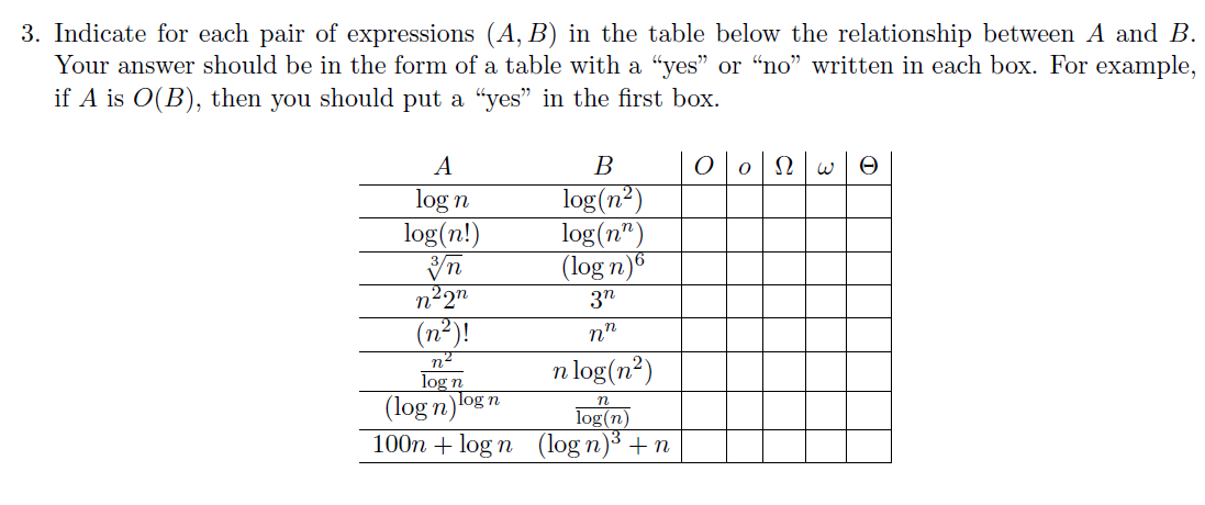 Indicate for each pair of expressions (A, B) in th