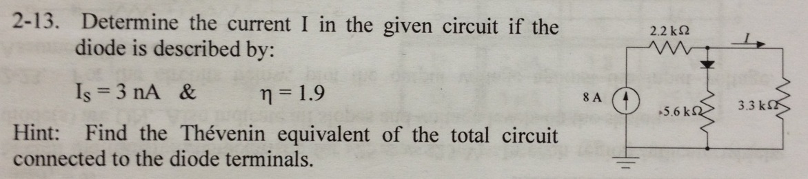 Determine the current I in the given circuit if th