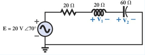 In the circuit shown below, E = 20 V RMS L 70 degr