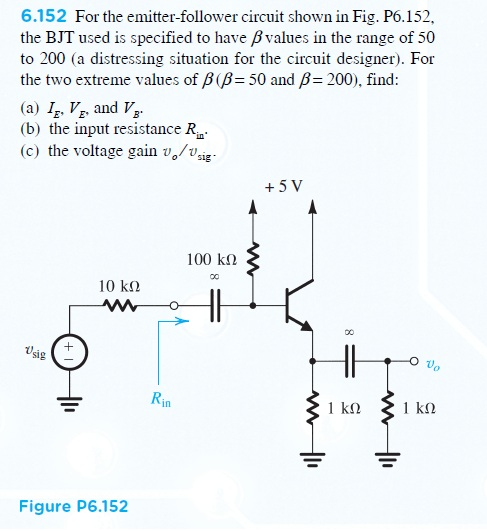 For the emitter-follower circuit shown in Fig. P6.
