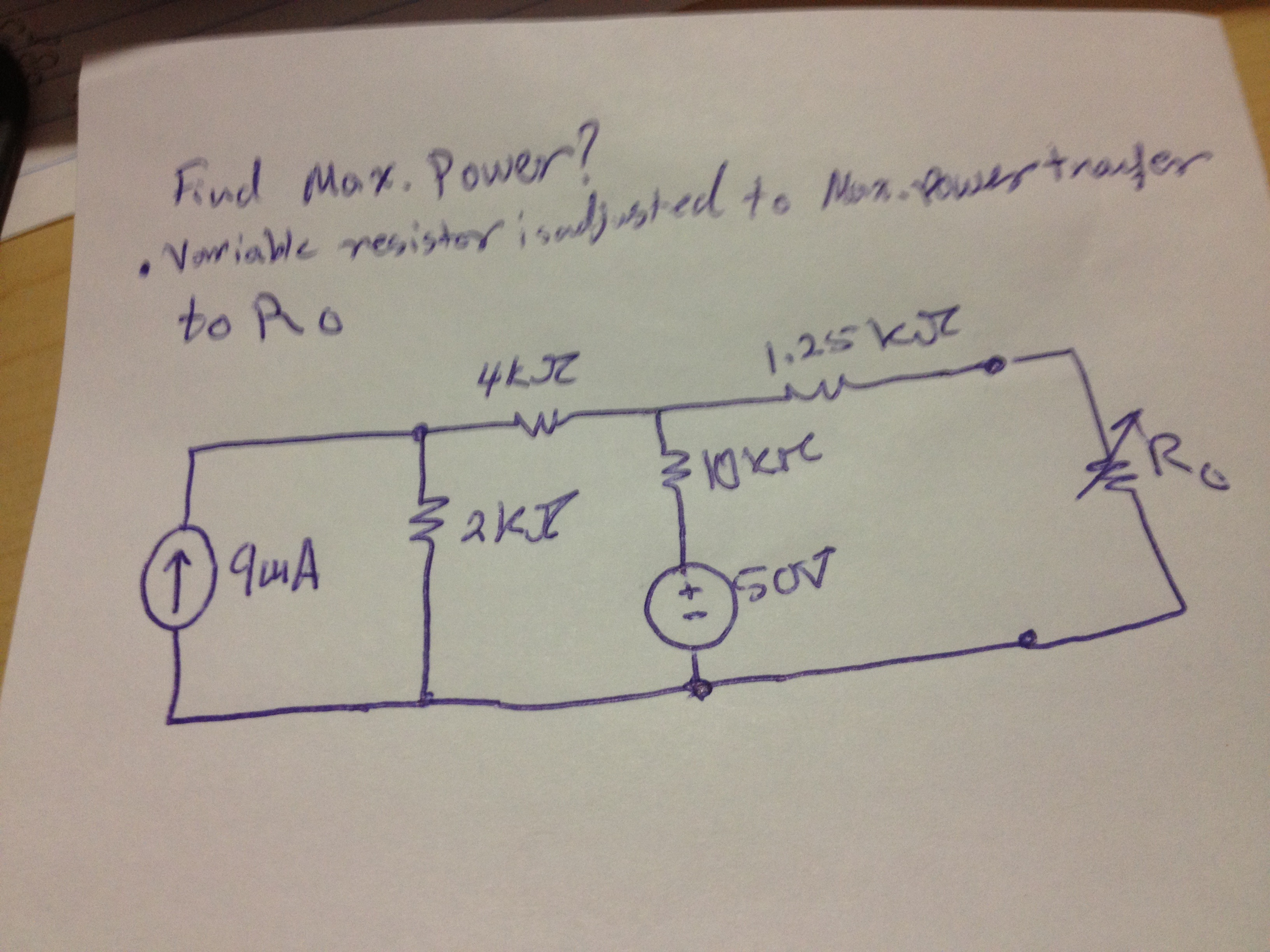 Find Max middot Power? Variable resister is adjus