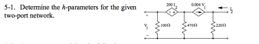 Determine the h-parameters for the given two-port
