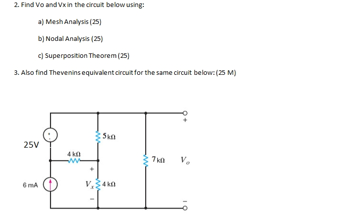solved  find vo and vx in the circuit below using  mesh an