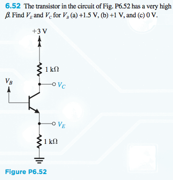 The transistor in the circuit of Fig. P6.52 has a