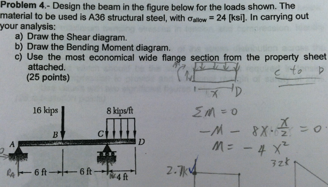 Design the beam in the figure below for the loads