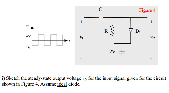 Sketch the steady-state output voltage vo for the