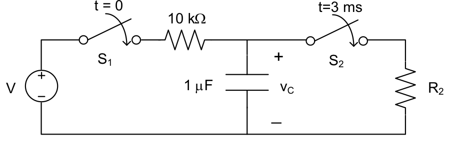 In the circuit below, we want to bring vC to 13 V