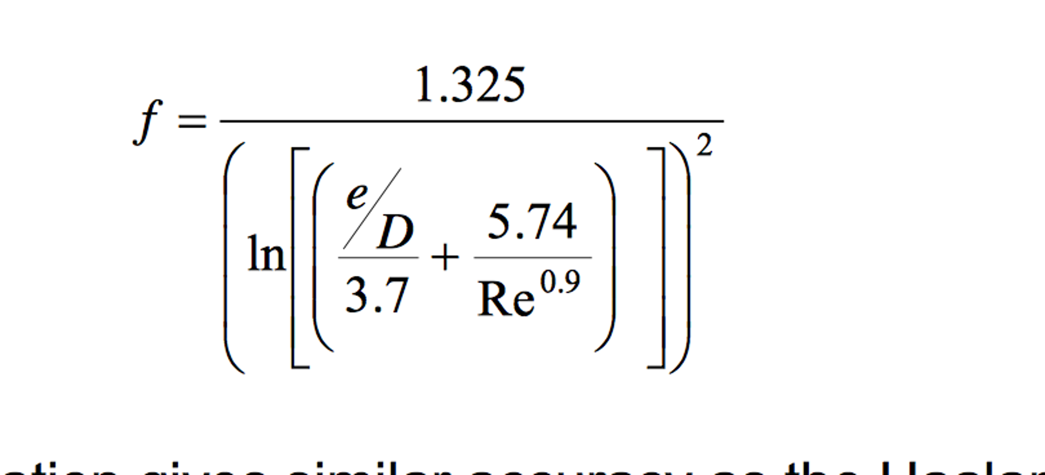 an alternative to equation 8 35a  the colebrook