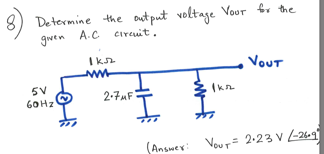 Determine the output voltage VOUT for the given A.