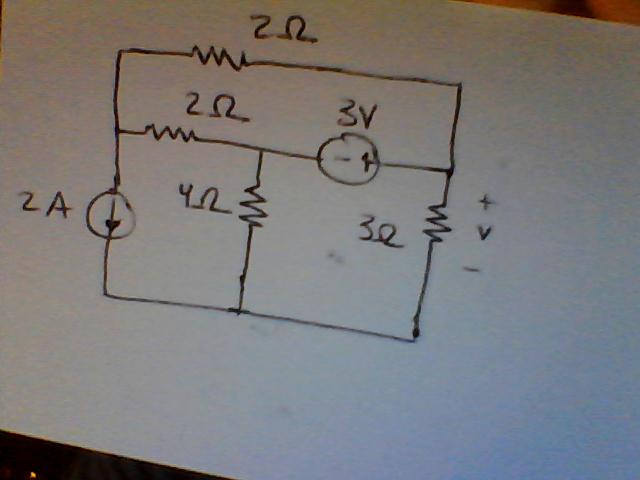 Determine the voltage drop on the 3 ohm resistor.