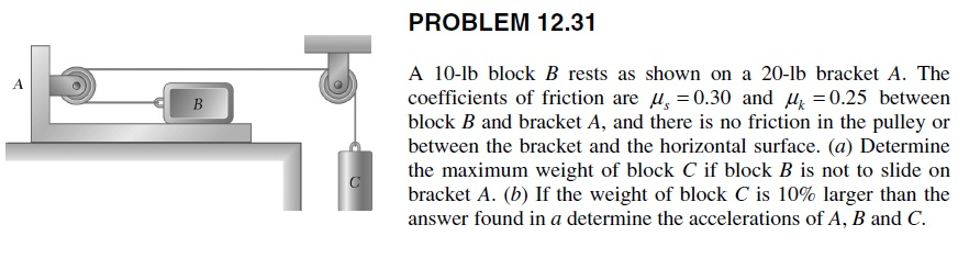 A 10-lb block B rests as shown on a 20-lb bracket