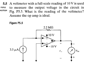 A voltmeter with a full-scale reading of 10 V is u