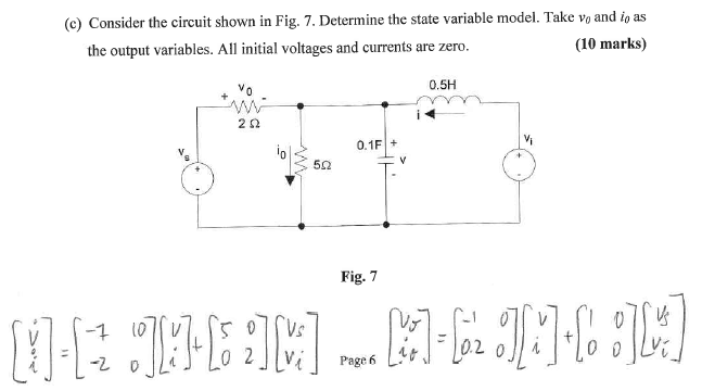 Consider the circuit shown in Fig. 7. Determine th