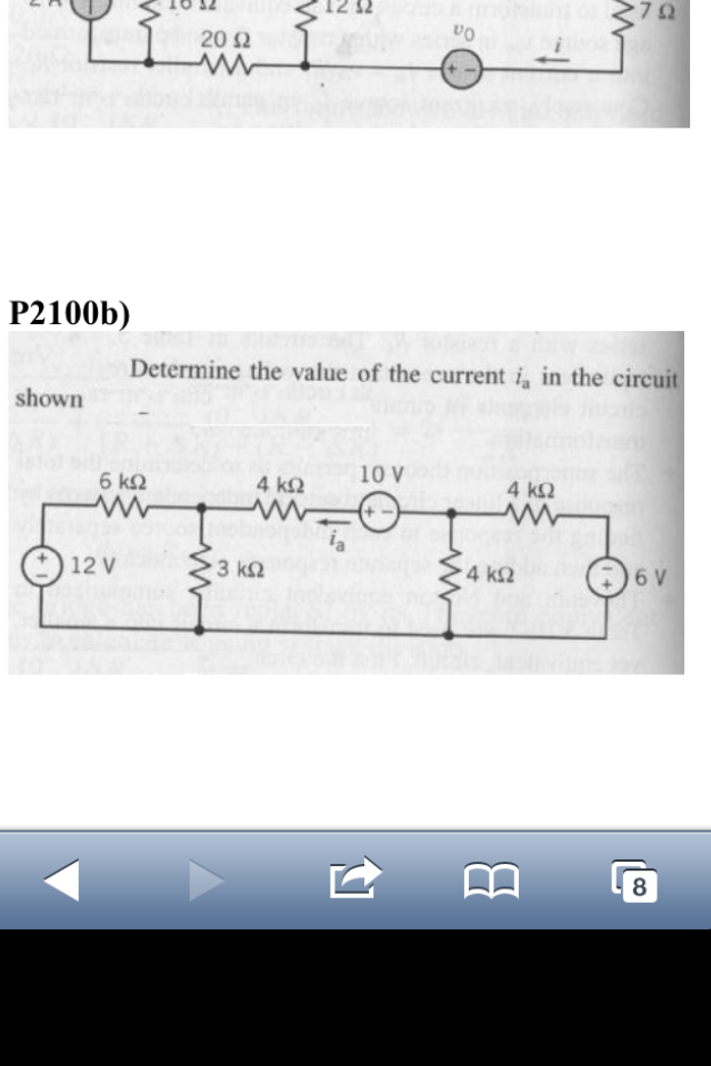Determine the value of current ia in the circuit s