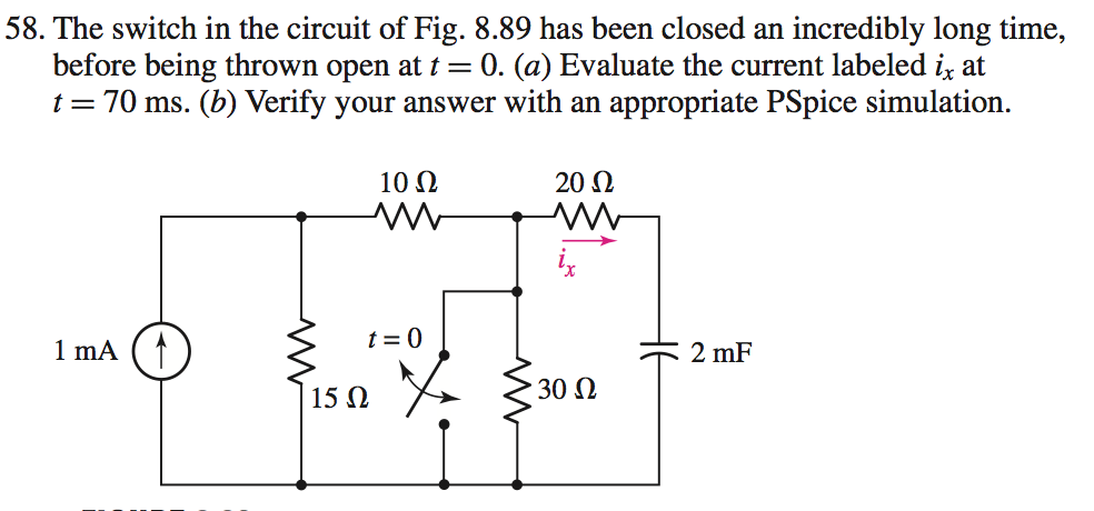 The switch in the circuit of Fig. 8.89 has been cl