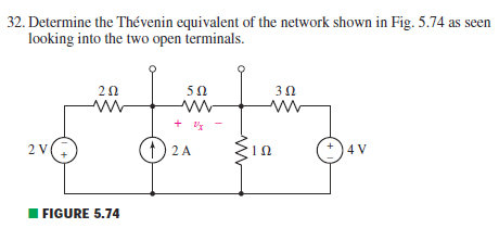 Determine the Thevenin equivalent of the network s