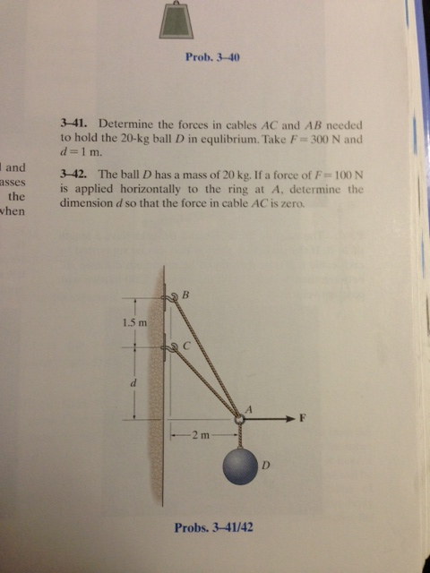 Determine the forces in cables AC and AB needed to