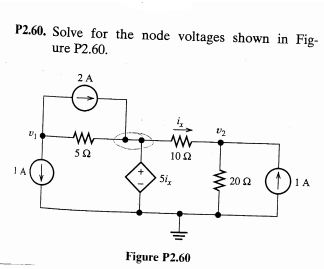 Solve for the node voltages shown in Figure P2.49.