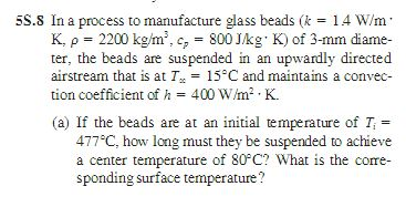 In a process to manufacture glass beads (k = 1.4 W