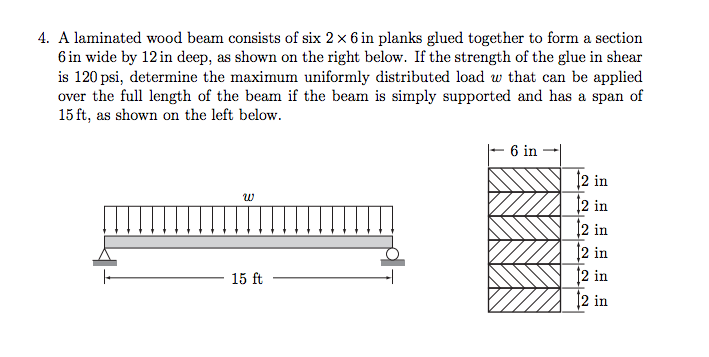 A laminated wood beam consists of six 2 times 6 in