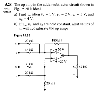 The op amp in the adder-subtracter circuit shown i