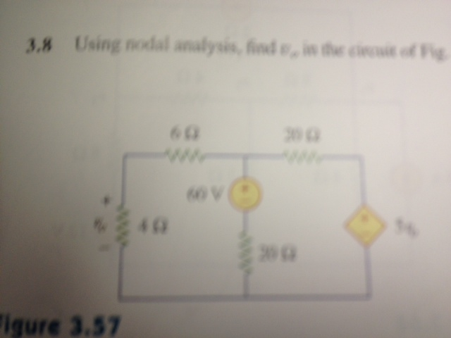 Using modal analysis, find V in the circuit of Fi