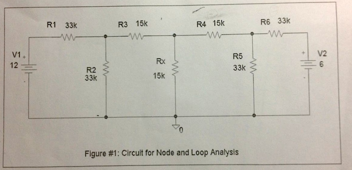 Figure #1: Circuit for Node and Loop Analysis