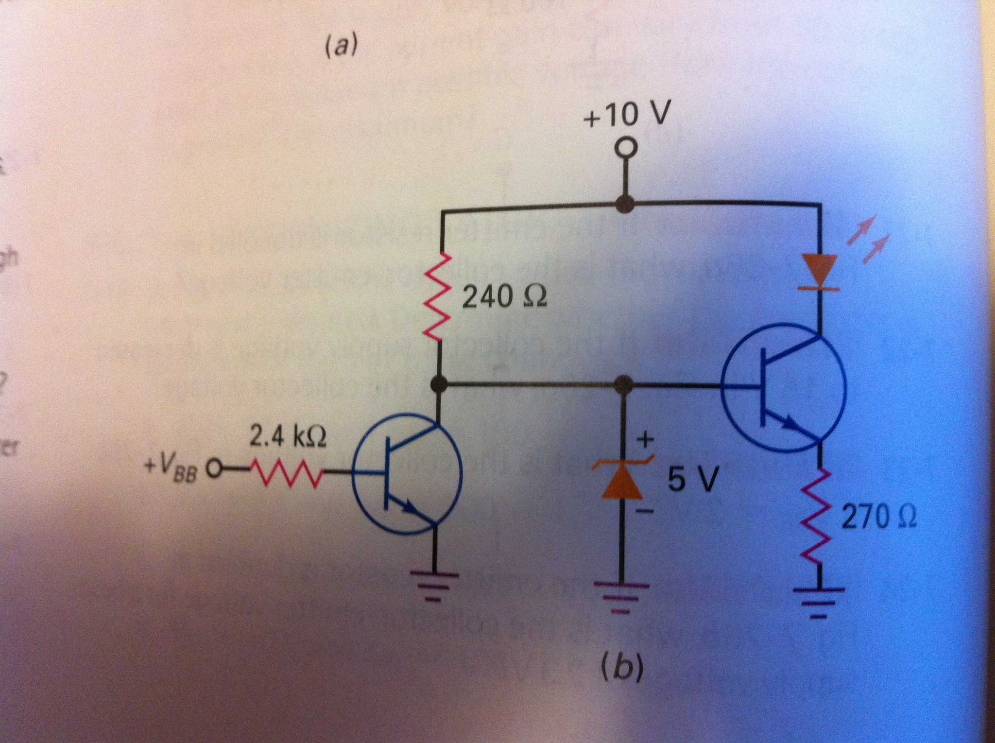 What is the current through the LED if Vbb = 0. if