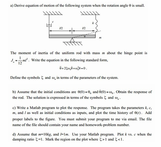 Derive equation of motion of the following system