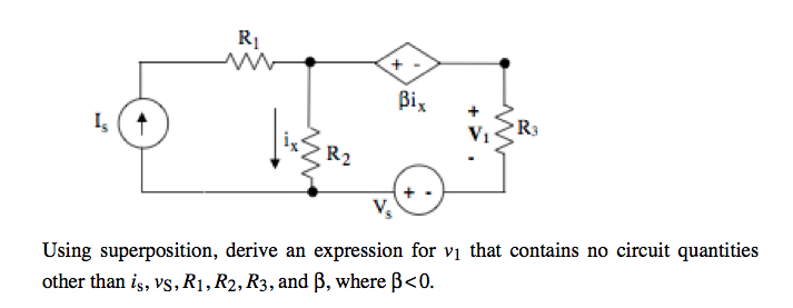 Using superposition, derive an expression for v1