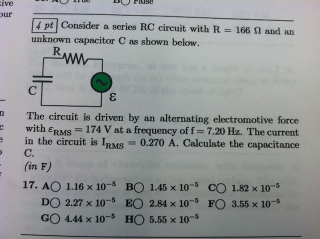 Consider a series RC circuit with R = 166 Q, and a