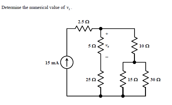 Determine the numerical value of vx.