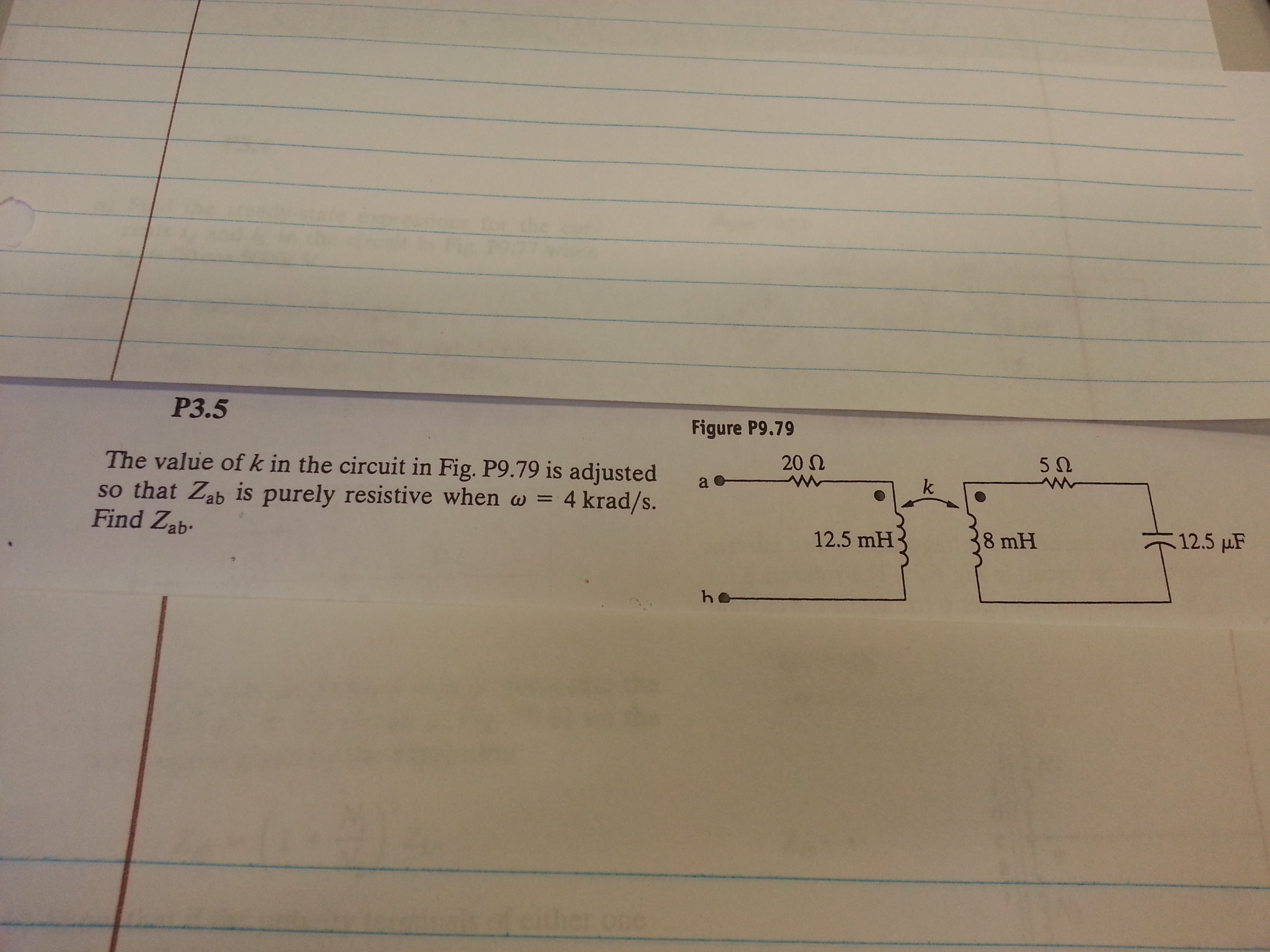 The value of k in the circuit in Fig. P9.79 is adj