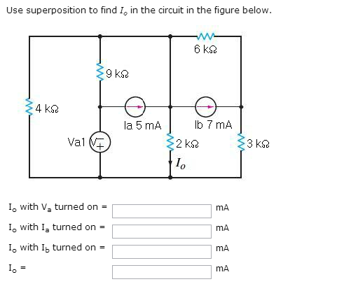 Use superposition to find I 0 in the circuit in th