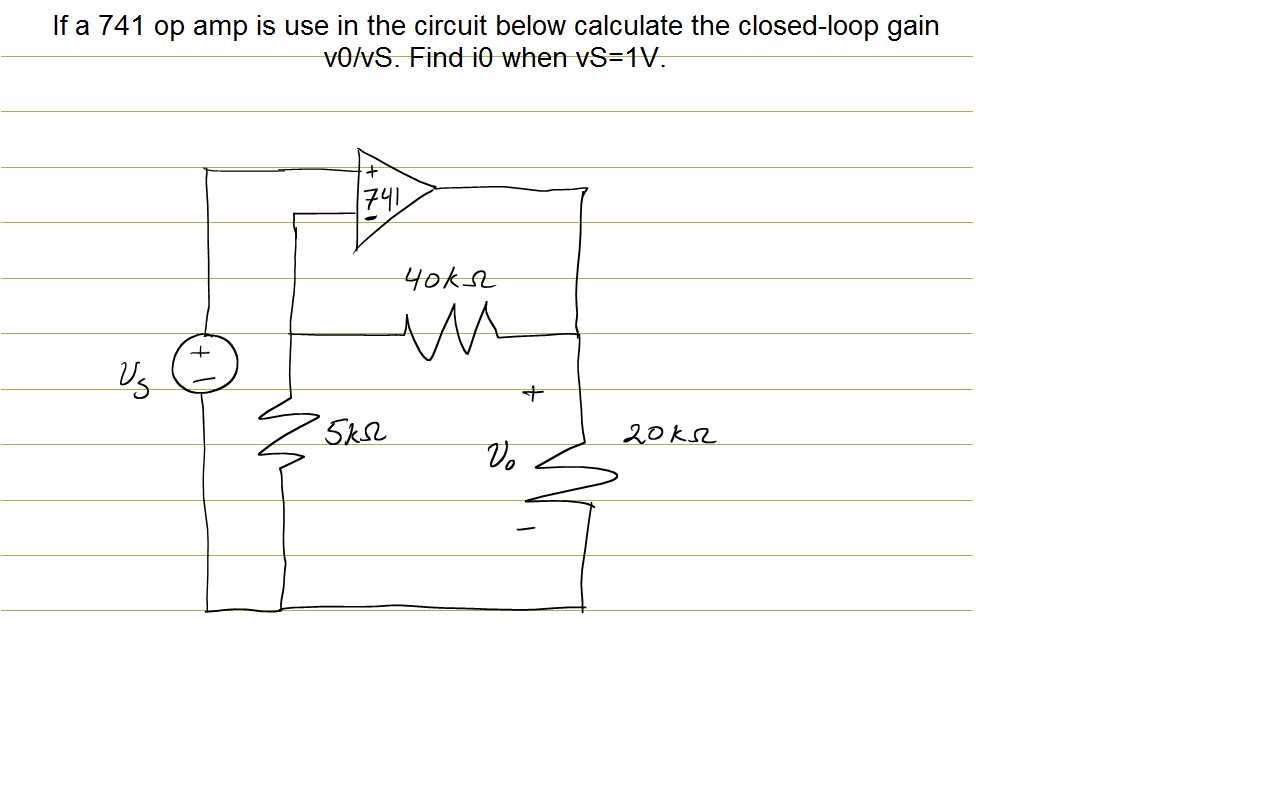 If a 741 op amp is use in the circuit below calcul
