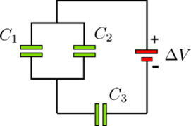 Threecapacitors C1= 3µF, C2= 3µF and C3= 4 µF.A)Wh
