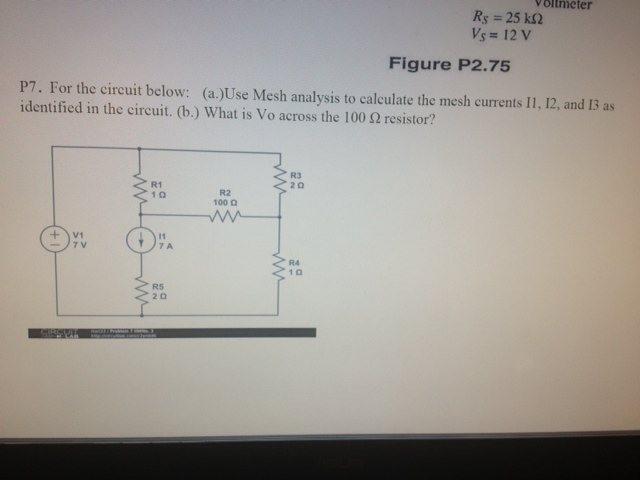 For the circuit bellow: (a. ) Use mesh analysis t