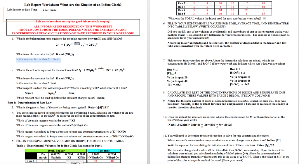 lab report worksheet what are the kinetics of an. Black Bedroom Furniture Sets. Home Design Ideas